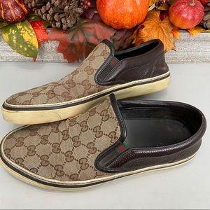 Gucci Dublin Mens Slip On Monogram Shoes Size 8 G